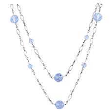 Sterling Silver Blue Crystal Necklace 40 inch Chain