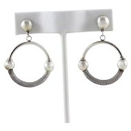 Sterling Silver Round Circle Dangle Drop Earrings