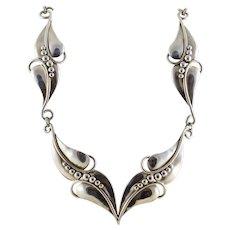 Collar Bib Leaf Design Necklace Sterling Silver 16 inch Necklace