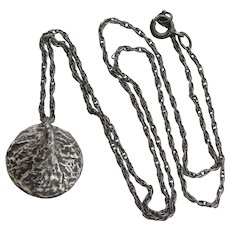 Sterling Silver Chocolate Kiss Necklace Black Patina 18 1/2 inch chain