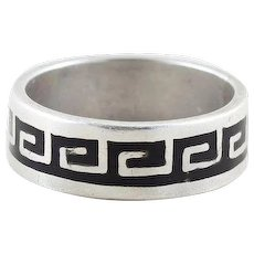 Sterling Silver Greek Key Ring Infinity Band Size 5 3/4