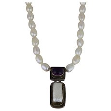 Sterling Silver Baroque Pearl Amethyst Necklace