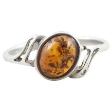 Sterling Silver Amber Ring Size 6