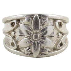 Sterling Silver Flower Band Ring Size 6 1/2