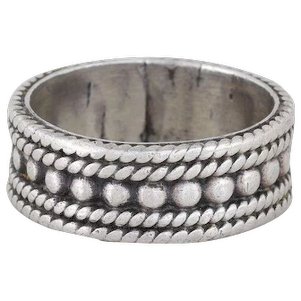 Mens Sterling Silver Band Ring Rope Beaded Design Size 8