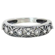 Sterling Silver Band Filigree Flower Ring Size 7