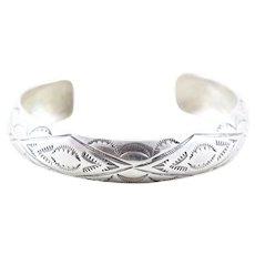 Sterling Silver Stamped Design Navajo Cuff Bracelet
