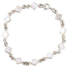 """Mother of Pearl Link Bracelet Sterling Silver 8"""""""