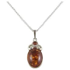 Sterling Silver Amber Necklace 18 inch Chain