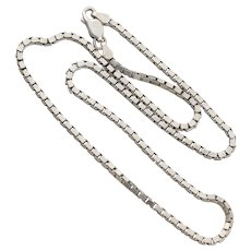 Sterling Silver Thick Box Chain Necklace 16 inch Chain