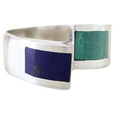 950 Silver Lapis Lazuli and Malachite Band Ring Size 8 3/4 Modernist