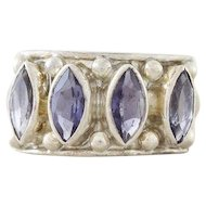 Purple Tanzanite Ring Band Sterling Silver Size 6 3/4