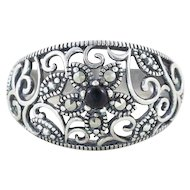 Sterling Silver Onyx and Marcasite Flower Ring Band Size 7 1/4
