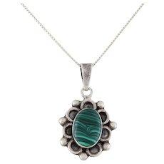 Sterling Silver Malachite Necklace 18 inch Box chain Vintage Mexico