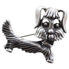 Puppy Dog Pin Brooch Sterling Silver Pin