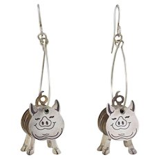 Moving Pig Dangle Drop Earrings Sterling Silver Farm Girl
