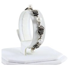 Sterling Silver Pearl Flower Bracelet Women Teen Child