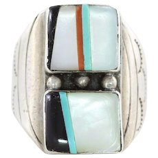 Mens Sterling Silver Turquoise Coral Mother of Pearl Onyx Ring Size 9 1/4