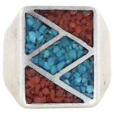 Mens Sterling Silver Crushed Turquoise and Coral Ring Size 7 3/4 Pinky Ring