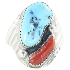 Sterling Silver Mens Turquoise  and Coral Ring Size 10 3/4 Navajo