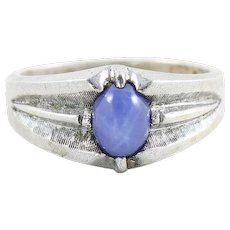 Mens Sterling Silver Blue Star Sapphire Ring Size 10 1/2