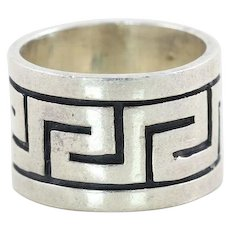 Sterling Silver Greek Key Ring Thick Large Ring Size 9 1/2
