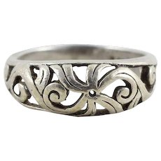 Sterling Silver Floral Band Ring Size 6
