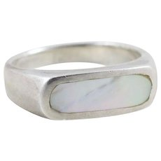 Sterling Silver Mother of Pearl Inlay Band Ring Size 7 1/2