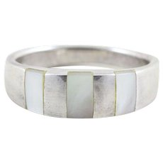 Sterling Silver Mother of Pearl Inlay Band Ring Size 9 1/4