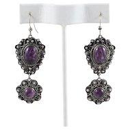 900 Silver Vintage Purple Glass Flower Dangle Drop Earrings