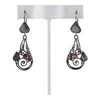 Sterling Silver Leaf Design Pink Dangle Drop Earrings