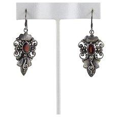Sterling Silver Garnet Dangle Drop Earrings.
