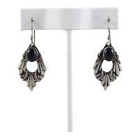 Sterling Silver Onyx Dangle Drop Earrings.