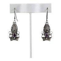 Sterling Silver Purple Amethyst Dangle Drop Earrings