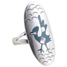 Sterling Silver Road Runner Turquoise and Abalone Ring Size 7 3/4