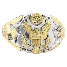 Mens Sterling Silver Eagle Crest Ring with Gold Accents Size 9 1/2
