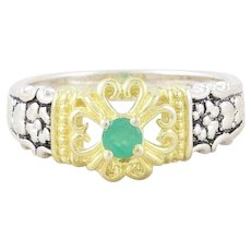 Natural Green Emerald Ring Sterling Silver with Gold Accents Size 7 1/4