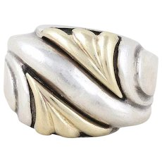 Sterling Silver and 14k Yellow Gold Ring Size 6 3/4
