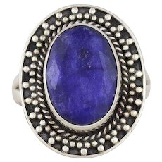 Natural Blue Sapphire Ring Sterling Silver Size 6 3/4