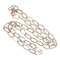 """24"""" Rose Gold Plated Sterling Silver Textured Oval Rolo Link Long Chain Necklace"""