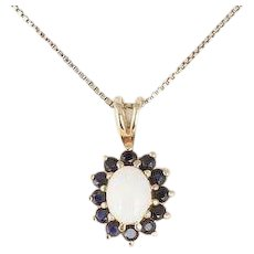 """Gold over Sterling Silver Natural Opal and Blue Sapphire Necklace 18"""" Chain"""