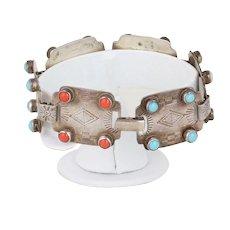Sterling Silver Turquoise Coral Tigers Eye  Lapis Lazuli Stone Bracelet Womens