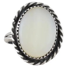 Sterling Silver White Shell Ring size 6 1/4