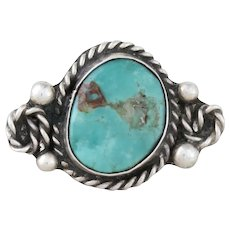 Sterling Silver Turquoise Ring Navajo Band Size 5 3/4