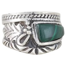 Sterling Silver Malachite Ring Band Size 7 3/4
