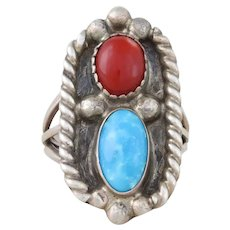 Sterling Silver Turquoise and Coral Ring Size 7 Bold Ring