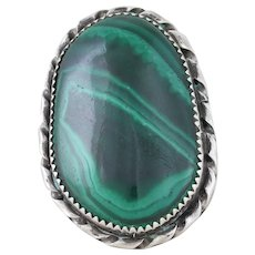 Sterling Silver Large Malachite Ring Size 7 1/4