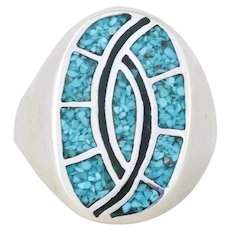 Mens Large Sterling Silver Native American Indian Crushed Turquoise and Onyx Ring Size 13