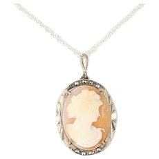 800 Sterling Silver Cameo and Marcasite Necklace 24 inch Chain