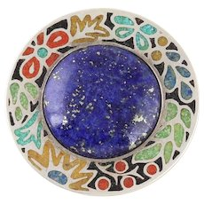 Sterling Silver Lapis Lazuli Stone Inlay Pin Brooch or Pendant
